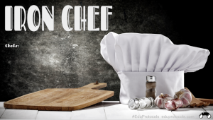 "This is an image of a slide that reads, ""Iron Chef"" and has a picture of a chef hat, cutting board, and produce."