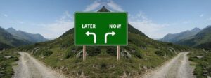 Sign pointing to road with Now or Later on it. Image by Gerd Altmann from Pixabay.